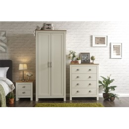 Lancaster 3 Piece Bedroom Set 2 Door Wardrobe 4 Drawer Chest Bedside Table Cream