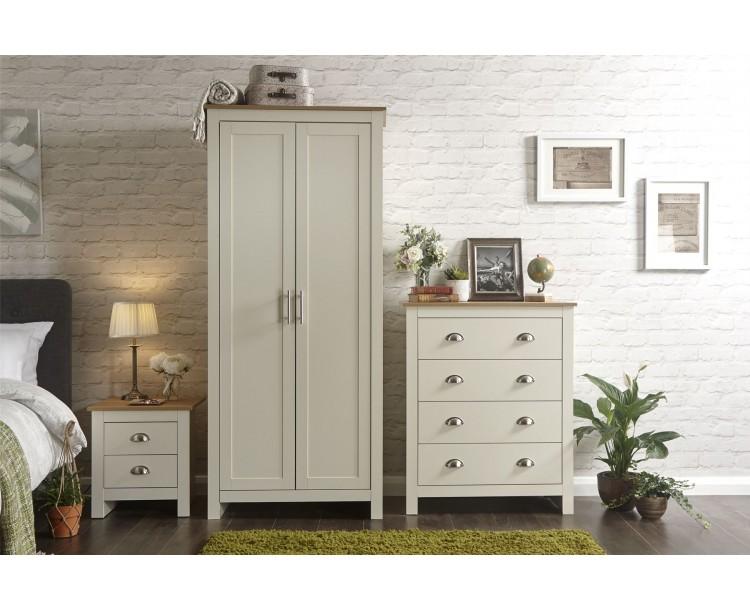 Lancaster 3 Piece Bedroom Set 2 Door Wardrobe 4 Drawer Chest Bedside Table Cream