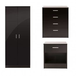 Ottawa 3 Piece Bedroom Set 2 Door Wardrobe 4 Drawer Chest Bedside Cabinet Black
