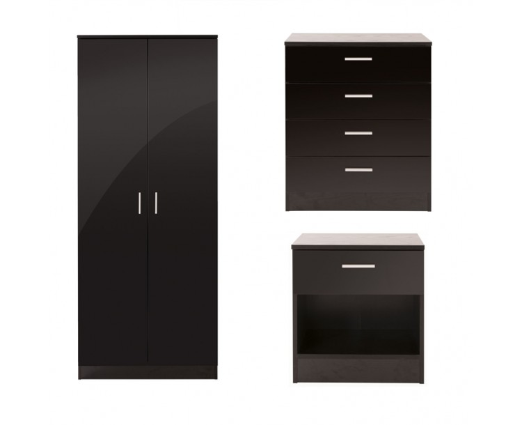 Ottawa 3 Piece Bedroom Set 2 Door Wardrobe 4 Drawer Chest Bedside Cabinet Black