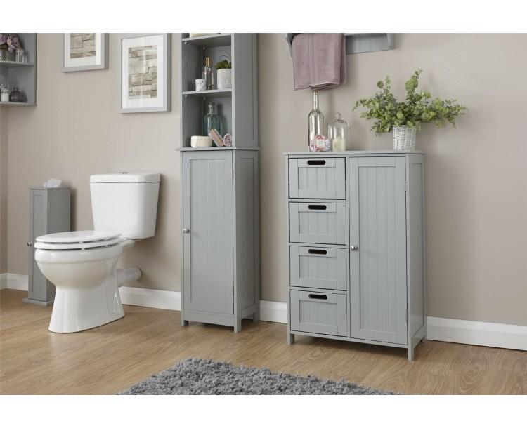 Grey 4 Drawer 1 Door Colonial Multi Storage Bathroom Unit