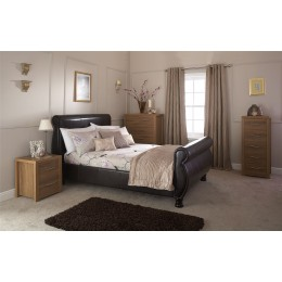 Brown Faux Leather Chicago 4ft6 135cm Double Bed Frame