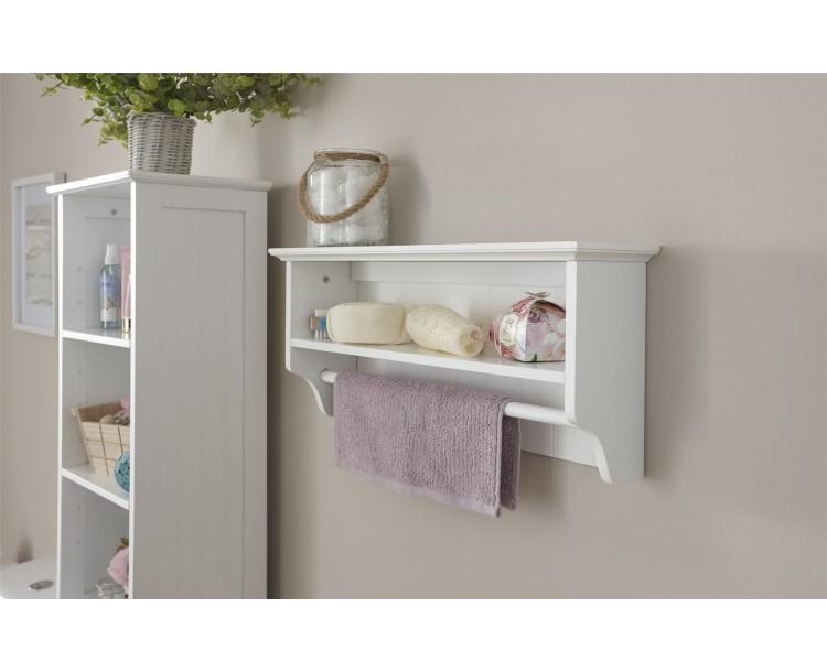 Modern White MDF Colonial Towel Rail with Shelf Bathroom Unit Storage