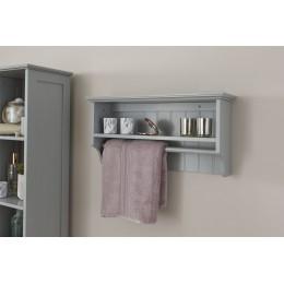 Modern MDF Colonial Towel Rail With Shelf Grey Bathroom Unit