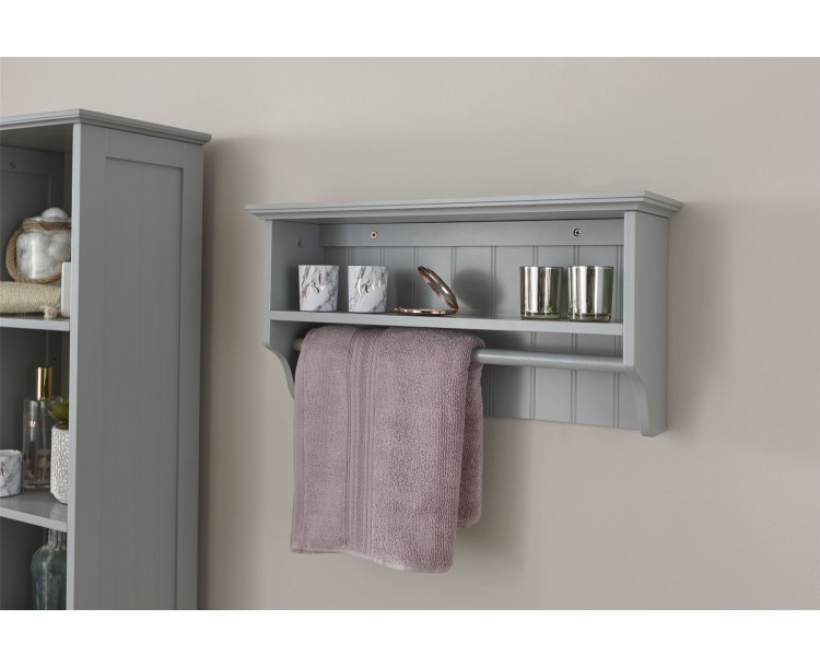 Modern MDF Colonial Towel Rail with Shelf Grey Bathroom Unit