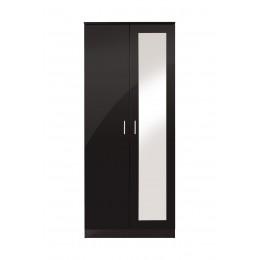 Ottawa 2 Door Mirror Wardrobe Bedroom Furniture Black