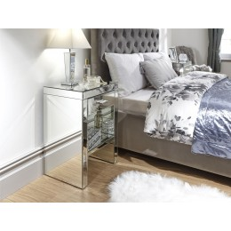 Venetian 1 Drawer Bedside Table Cabinet Clear Mirror Finish