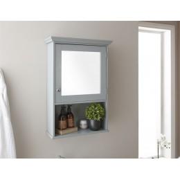 Modern MDF Colonial Grey Mirrored Cabinet with Shelf Bathroom Unit
