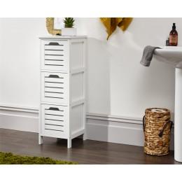 Bergen White 3 Drawer Slim Occasional Hallway Bathroom Storage Unit