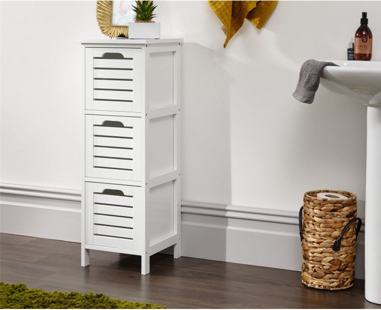 Bergen White 3 Drawer Slim Occasional Hallway Bathroom Storage Unit