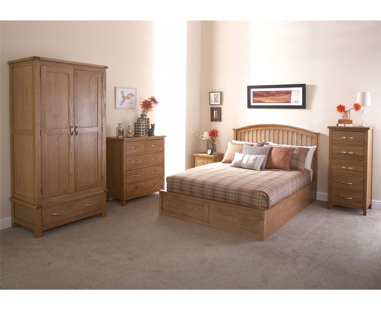 Madrid 4FT6 Double Wooden Ottoman Bed 135cm Bedframe Oak