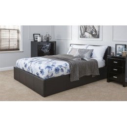 Black Faux Leather 5FT Kingsize 150cm End Lift Ottoman Storage Bed Frame