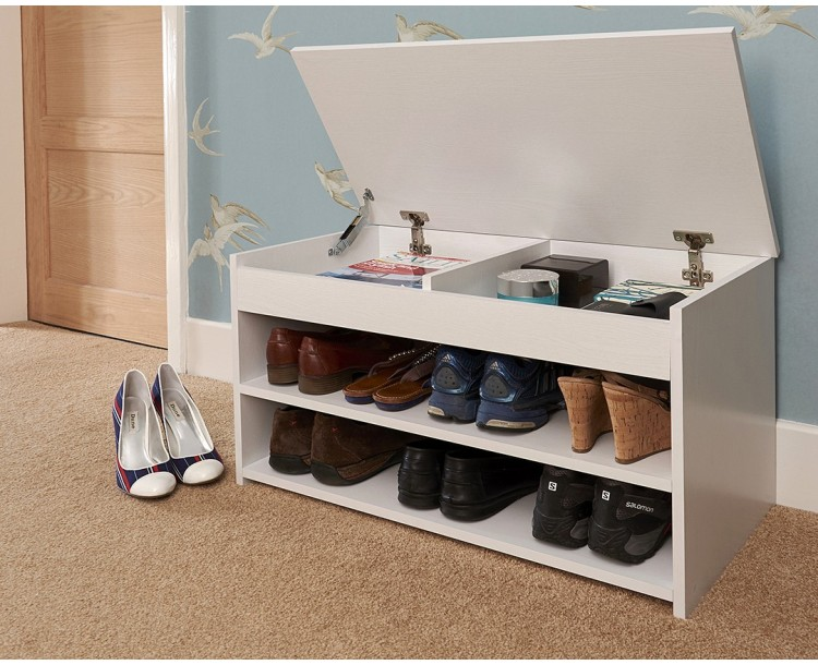 Modern Barcelona lift up shoe cabinet in white colour