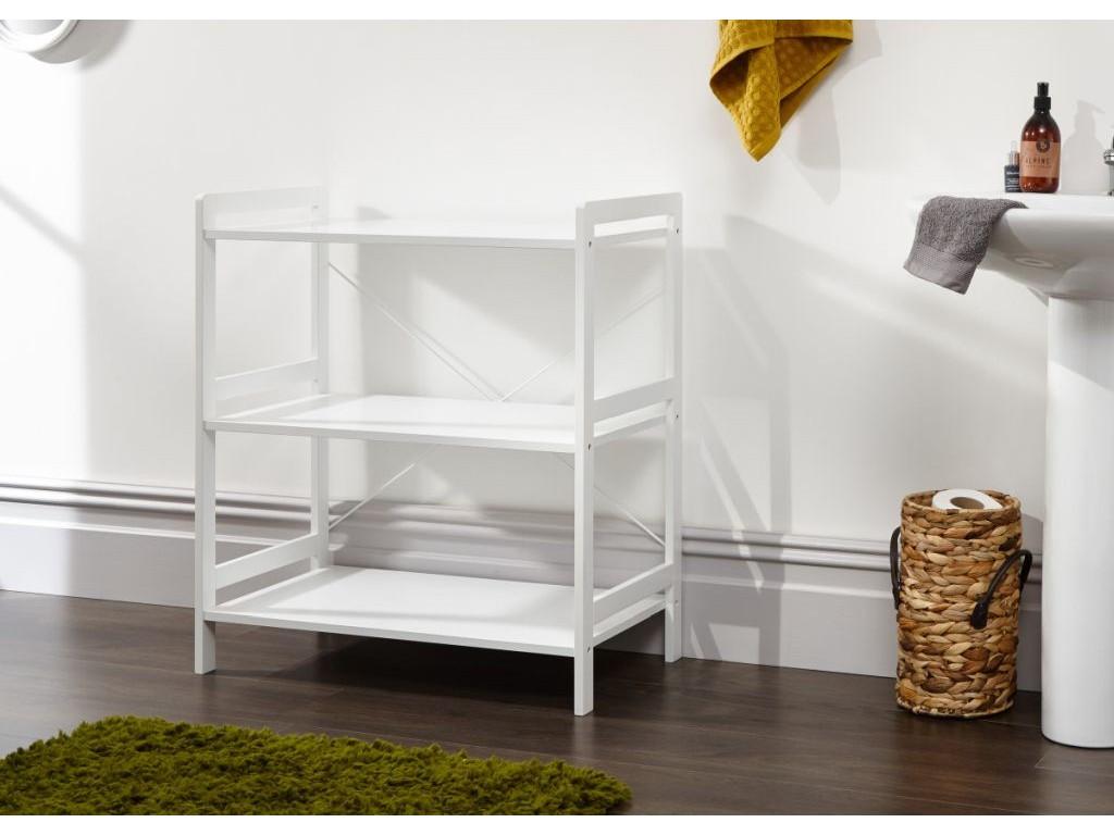 promo code 38ff6 1df86 Bergen Style Low Wide Modern White 3 Tier Open Shelf Unit