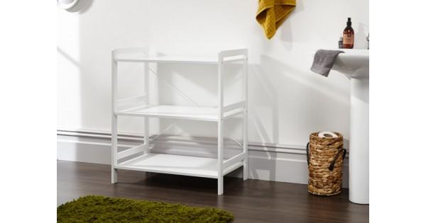 Bergen Style Low Wide Modern White 3 Tier Open Shelf Unit