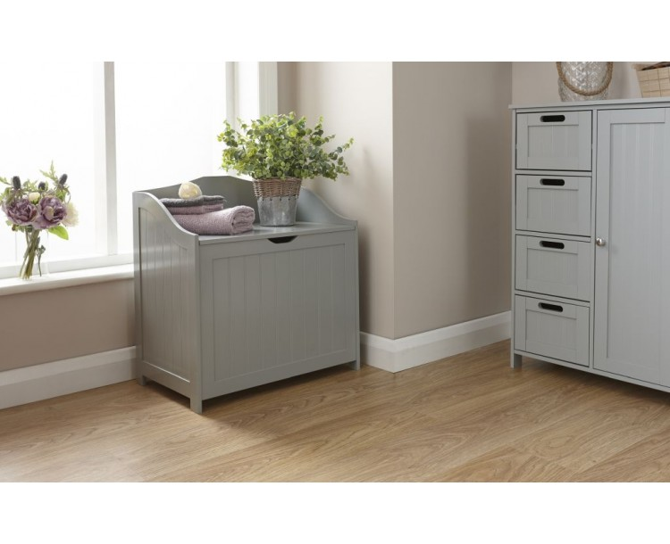 Groove-Effect Colonial Style Grey Hamper Storage Unit