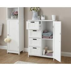 Colonial Wood 4 Drawer / 1 Door Bathroom Unit in White