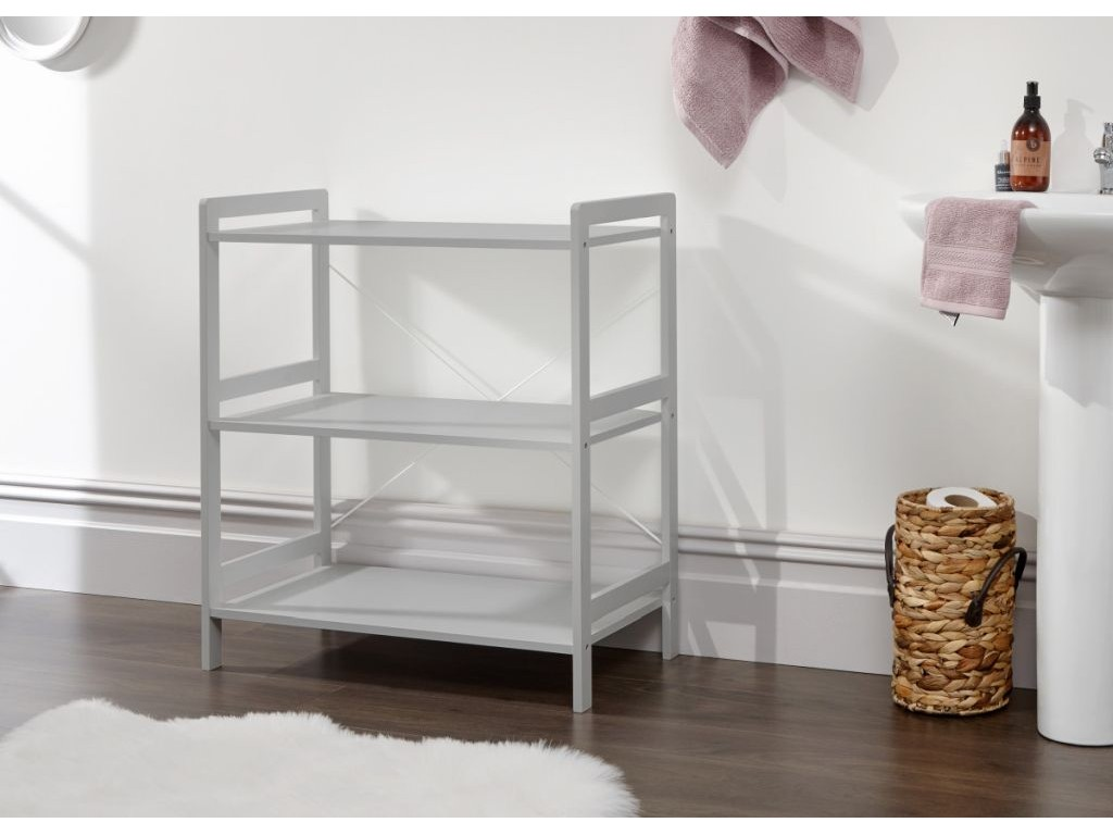 Grey Bergen Style Modern 3 Tier Low Wide Open Shelf Unit