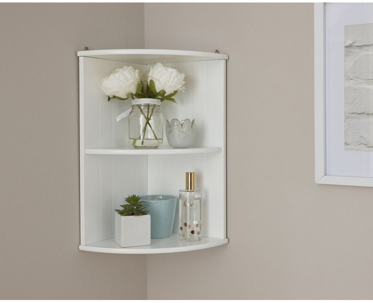Colonial bathroom corner wall shelf unit with white finish - White bathroom corner shelf unit ...