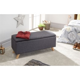 Dark Charcoal Grey Secreto Hopsack Fabric Lift Up Ottoman Storage Bench