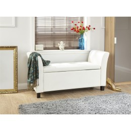 Verona Window Seat Faux Leather Large Ottoman Storage Box Bench Foot Stool White