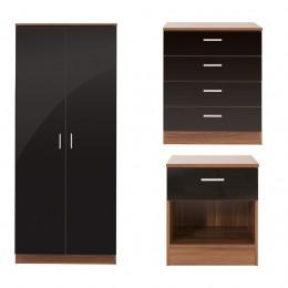 Ottawa 3 Piece Bedroom Set 2 Door Wardrobe 4 Drawer Chest Bedside Cabinet Walnut