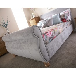 Chicago Fabric 4ft6 Double Bed in Silver