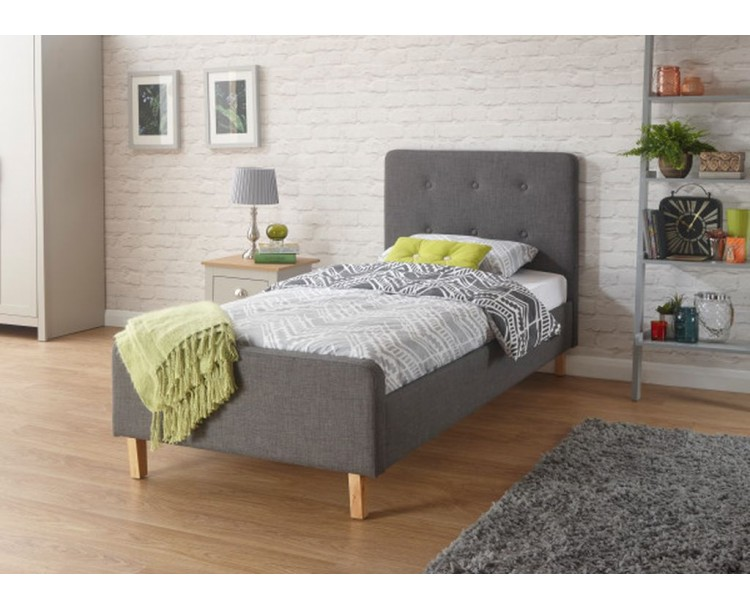 Grey Hopsack Fabric Bedstead 3ft Ashbourne Upholstered