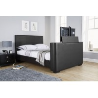 Newark Black Faux Leather TV Bedstead 4FT6 Double