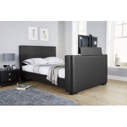 Newark Black PU Leather TV Bedstead 5FT Kingsize