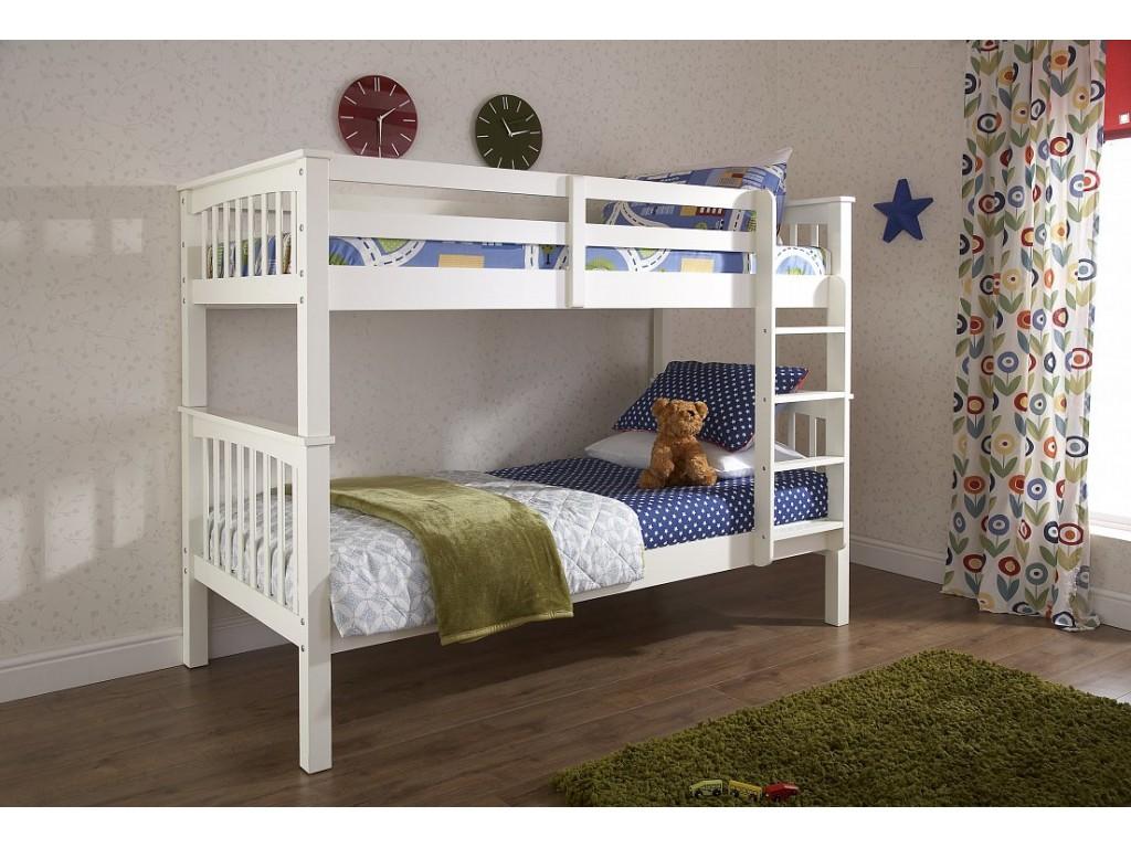 Novaro Childrens Wooden Bunk Bed White Solid Pine Frame