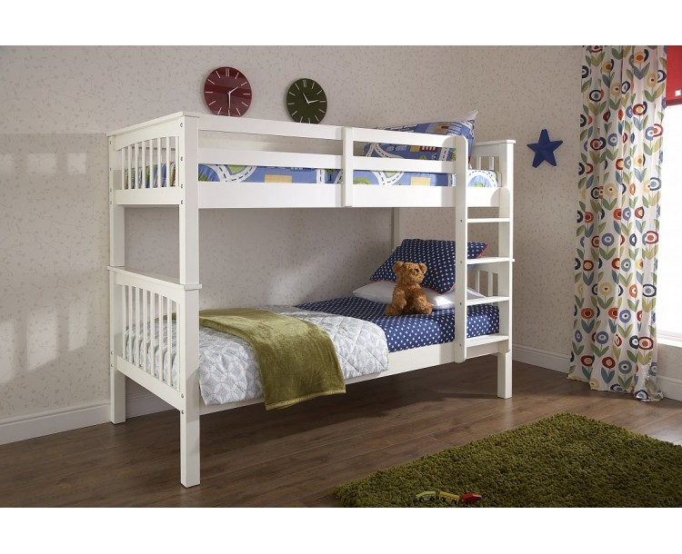 Novaro Childrens Wooden Bunk Bed White Solid Pine Frame