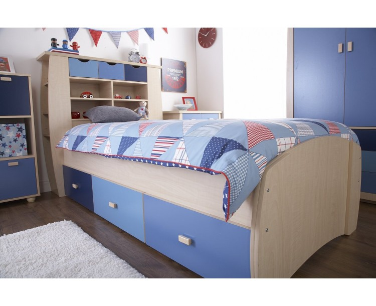 Sydney Children's Blue Single Bedstead With Drawers
