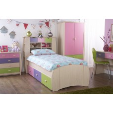 Sydney Children's Pink Single Bedstead With Drawers