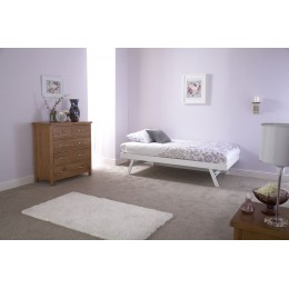 Modern White Madrid Design Wooden Trundle Bed