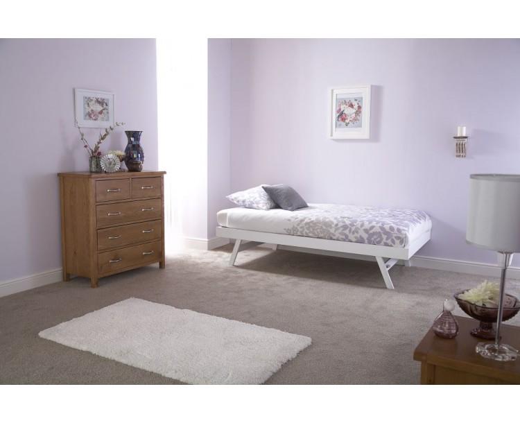 Modern White Madrid Design Wooden Trundle Bed