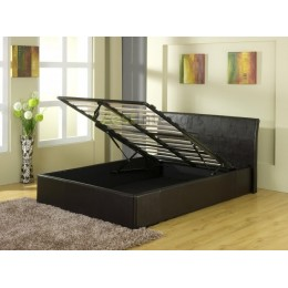 Detroit Ottoman End Gas Lift Faux Leather Black Storage Bed Frame
