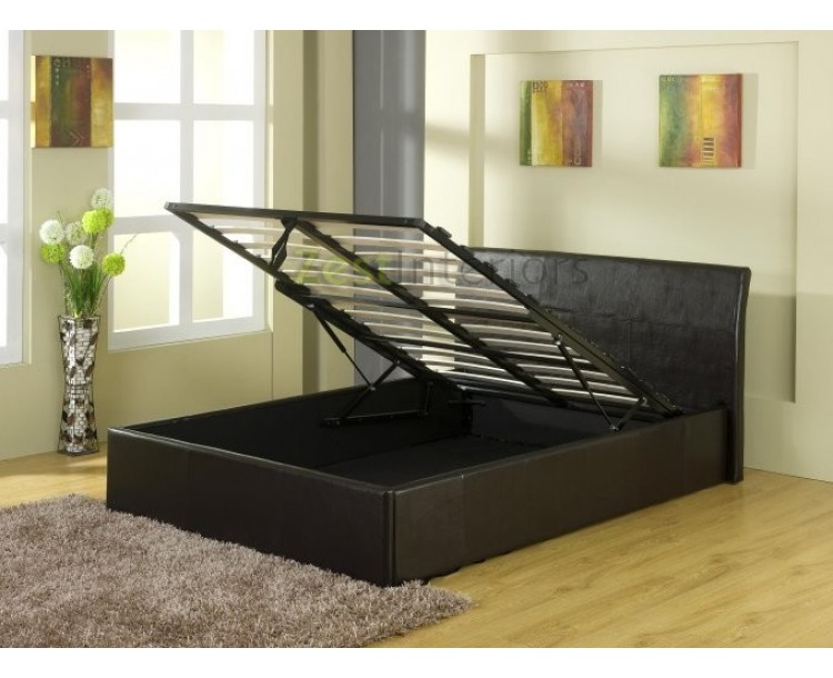 Detroit Ottoman End Gas Lift Faux Leather Black Storage Bed Frame