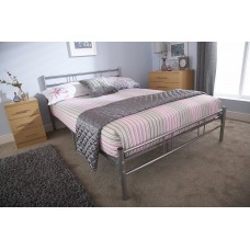 Morgan High Quality Metal Bed 4ft & 4ft6 Sizes Silver Finish