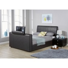New York 4FT6 Double Pneumatic TV Bedstead Black PU Leather