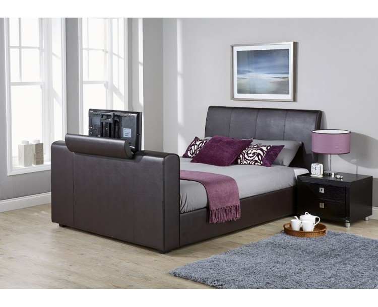 New York 4FT6 Double Pneumatic TV Bedstead Brown PU Leather