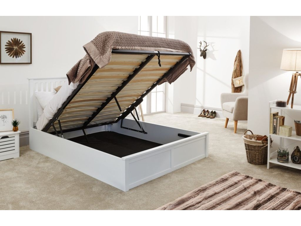 Pleasing Contemporary White End Lift Up 4Ft 6 Wooden Como Ottoman Bed Creativecarmelina Interior Chair Design Creativecarmelinacom
