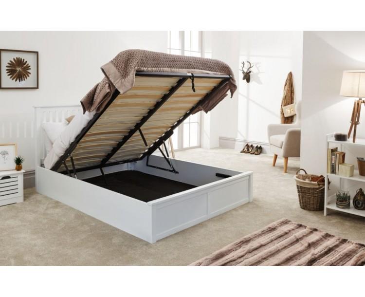 Contemporary White 4ft6 Wooden Como Ottoman Bed