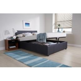 Venice 4FT6 Double End Lift Ottoman Bed Black Faux Leather