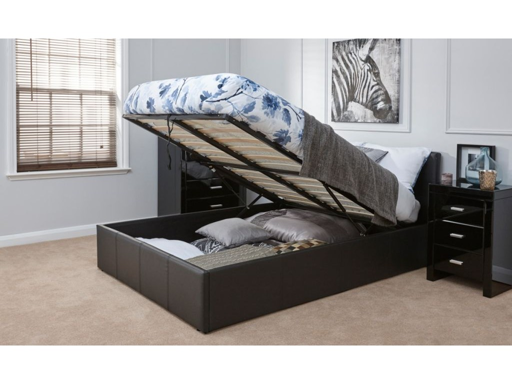 new product 4ac49 bbc27 Detroit Black End Gas Lift Storage Bed Frame In 4 Sizes