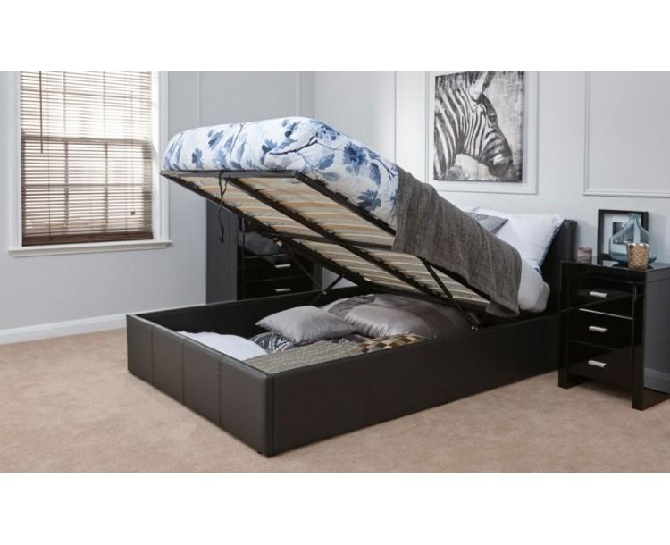 Detroit End Gas Lift  Black Storage Bed 3FT 4FT 4FT6 5FT