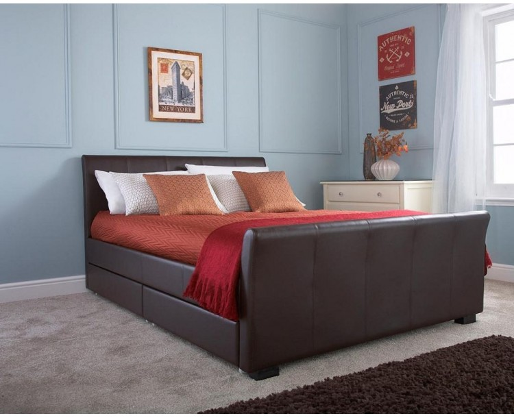Hannover Faux Leather 4ft6 Double Storage Bedstead Brown