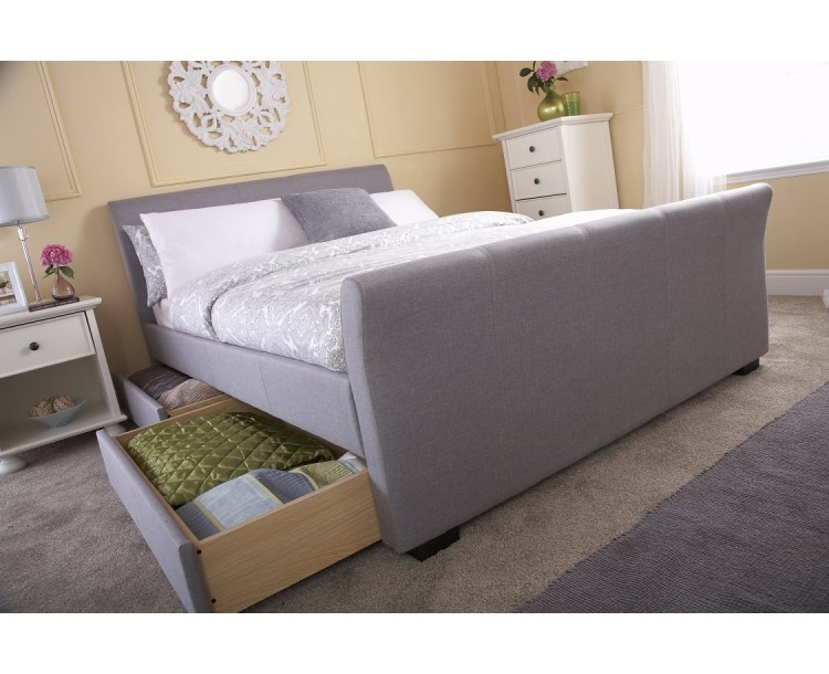 Hannover Grey 4FT6 Double Storage Fabric Storage Bed