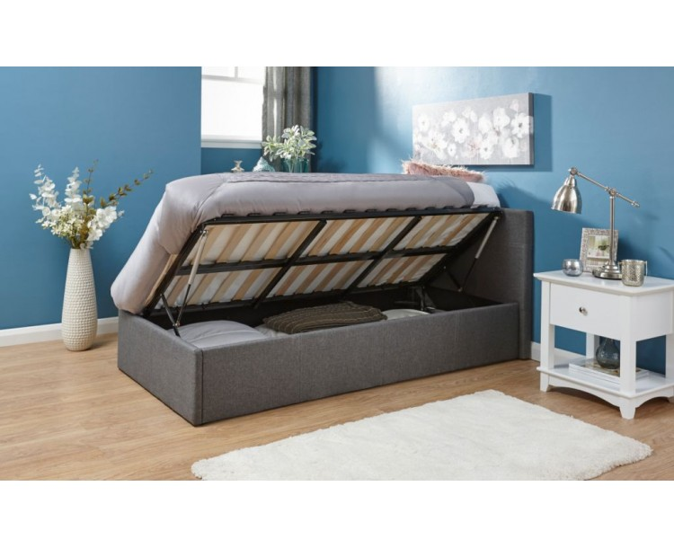 Contemporary 3ft Grey Fabric Side Lift Up Ottoman Bed