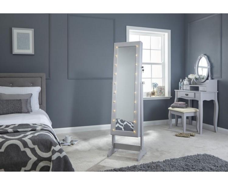 Grey LED Illuminating Amore Jewellery Storage Cabinet